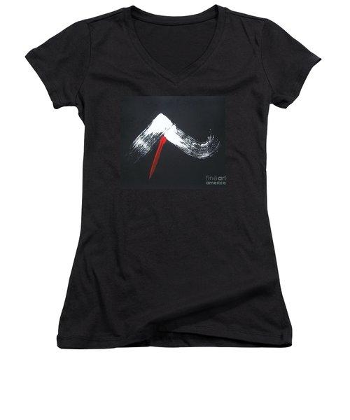 Fuji Ni Yogan - Ryu Women's V-Neck T-Shirt (Junior Cut) by Roberto Prusso