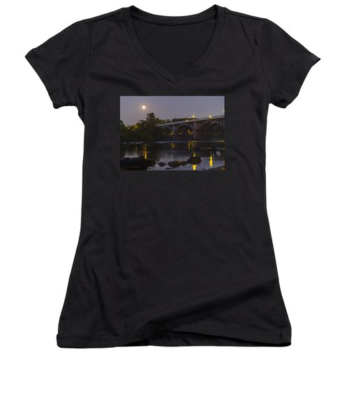 Full Moon And Jupiter-1 Women's V-Neck (Athletic Fit)