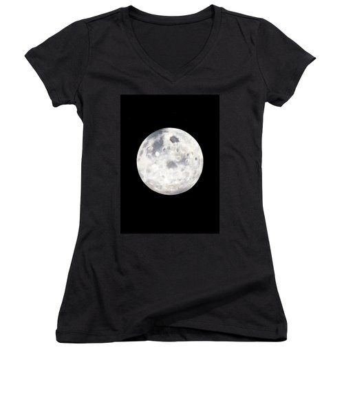Full Moon In Black Night Women's V-Neck T-Shirt