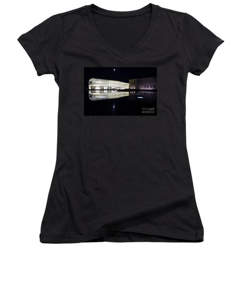 Full Moon Over Nelson Atkins Museum In Kansas City Women's V-Neck T-Shirt (Junior Cut) by Catherine Sherman
