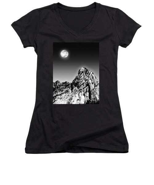 Full Moon Over The Suicide Rock Women's V-Neck