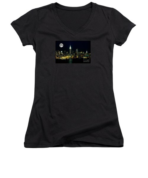 Full Moon Rising - New York City Women's V-Neck T-Shirt (Junior Cut) by Anthony Sacco