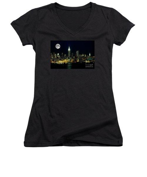 Full Moon Rising - New York City Women's V-Neck