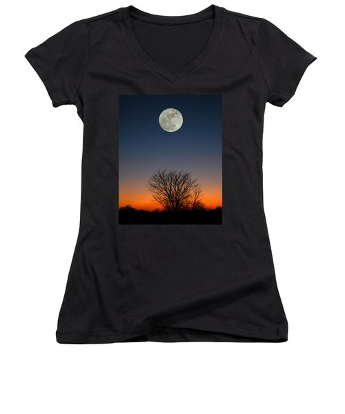 Women's V-Neck T-Shirt (Junior Cut) featuring the photograph Full Moon Rising by Raymond Salani III