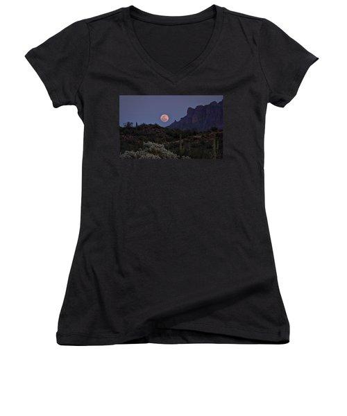 Full Moon Rising  Women's V-Neck T-Shirt (Junior Cut) by Saija  Lehtonen