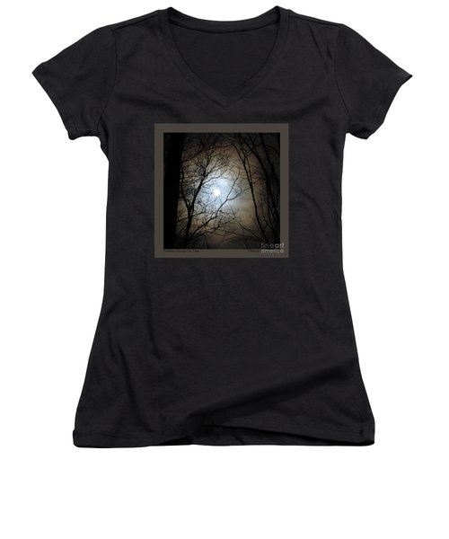 Full Moon Through The Trees Women's V-Neck (Athletic Fit)