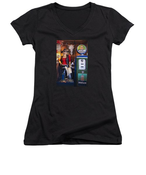 Full Service Route 66 Gas Station Women's V-Neck T-Shirt (Junior Cut) by Priscilla Burgers