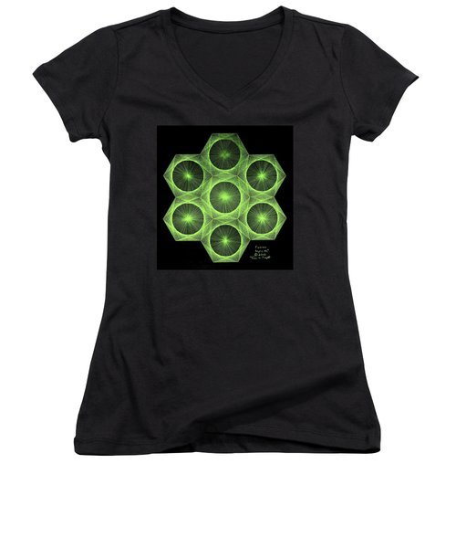 Women's V-Neck T-Shirt (Junior Cut) featuring the drawing Fusion  by Jason Padgett