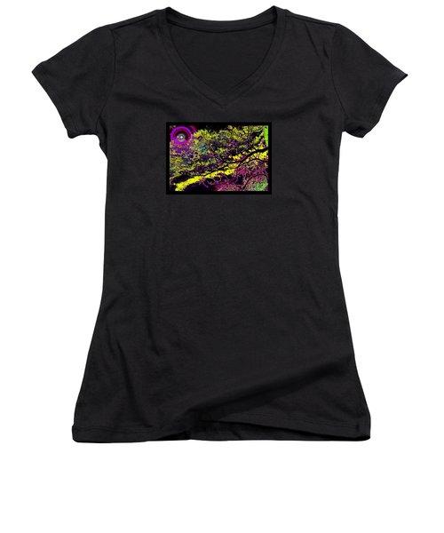 Galactic Luminescence Women's V-Neck T-Shirt (Junior Cut) by Susanne Still