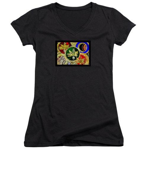 Galactic Windhorses Women's V-Neck T-Shirt (Junior Cut) by Susanne Still