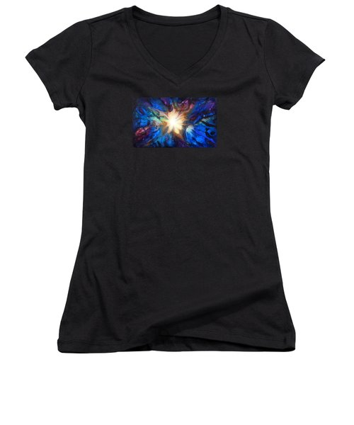 Flor Boreal Women's V-Neck T-Shirt (Junior Cut) by Angel Ortiz