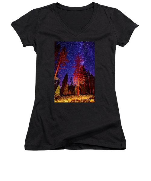 Women's V-Neck T-Shirt (Junior Cut) featuring the photograph Galaxy Stars By The Campfire by Jerry Cowart