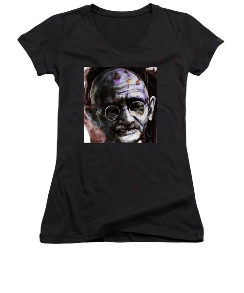 Women's V-Neck T-Shirt (Junior Cut) featuring the painting Gandhi by Laur Iduc