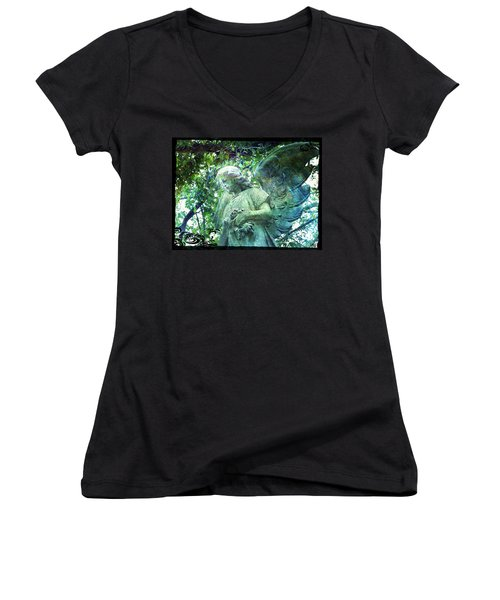 Garden Angel - Divine Messenger Women's V-Neck T-Shirt (Junior Cut) by Absinthe Art By Michelle LeAnn Scott
