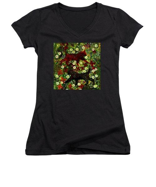 Garden Cats Women's V-Neck T-Shirt (Junior Cut) by Barbara Moignard