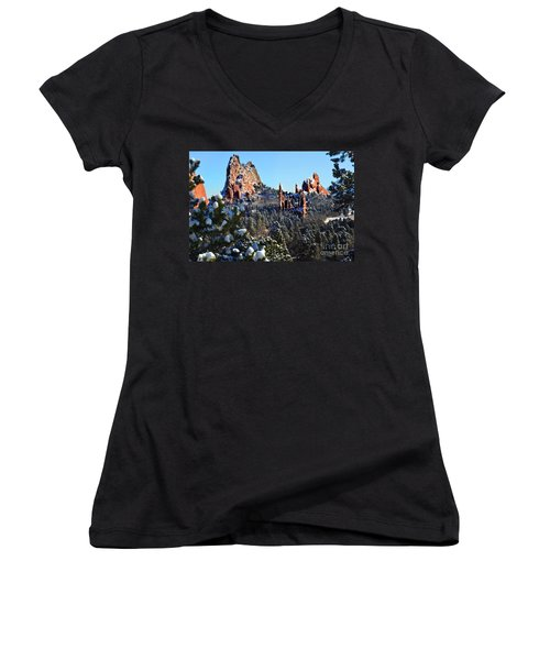 Women's V-Neck T-Shirt (Junior Cut) featuring the photograph Garden Of The Gods After Snow Colorado Landscape by Jon Holiday