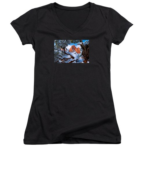 Garden Of The Gods Framed By Juniper Trees Women's V-Neck T-Shirt