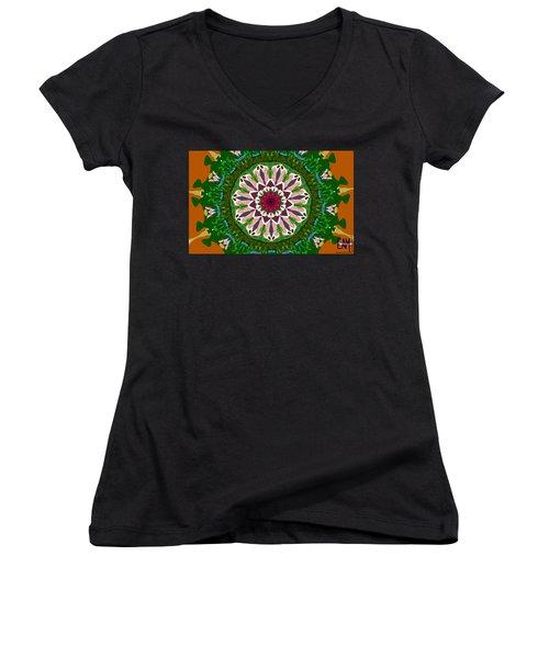 Women's V-Neck T-Shirt (Junior Cut) featuring the digital art Garden Party #2 by Elizabeth McTaggart