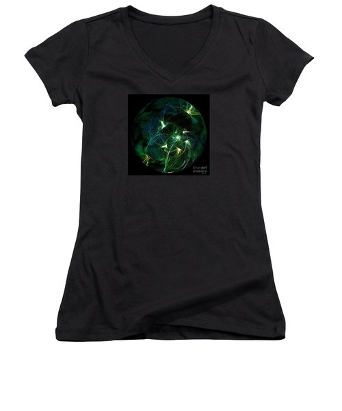 Garden Sprites Come At Night Women's V-Neck T-Shirt (Junior Cut) by Elizabeth McTaggart