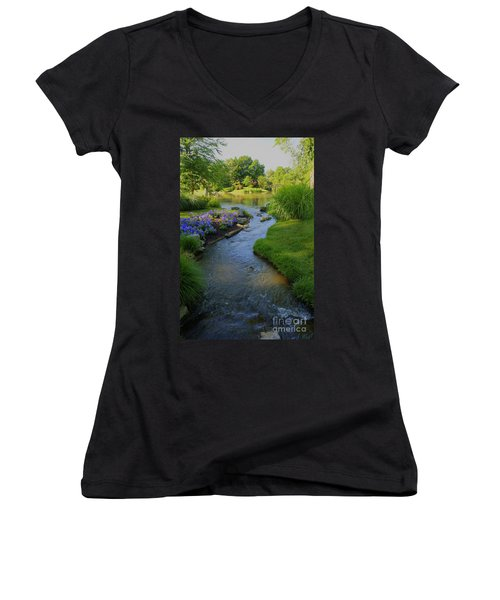 Garden Stream Hdr #9795 Women's V-Neck (Athletic Fit)