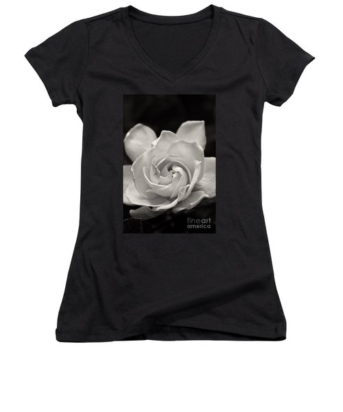 Gardenia Bloom In Sepia Women's V-Neck (Athletic Fit)