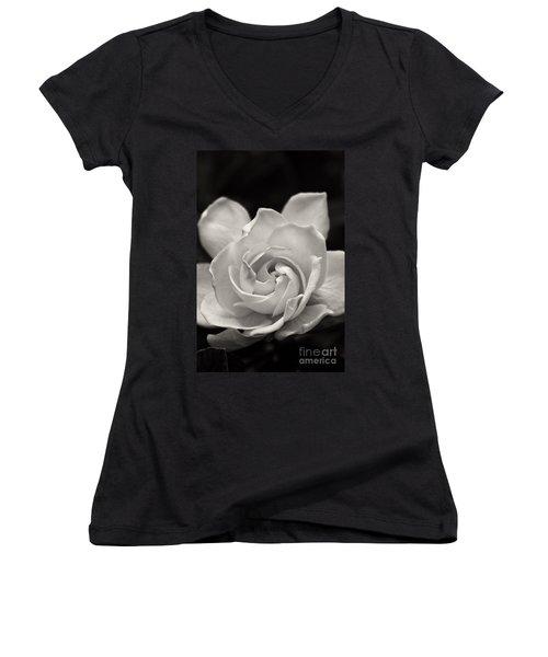 Gardenia Bloom In Sepia Women's V-Neck