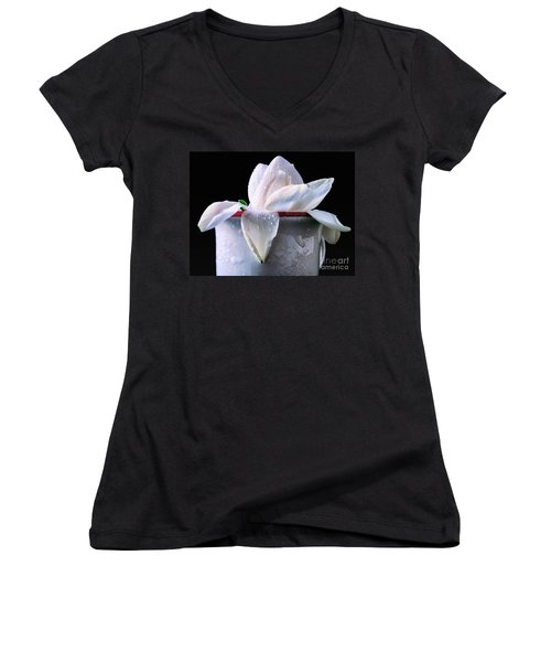 Women's V-Neck T-Shirt (Junior Cut) featuring the photograph Gardenia In Coffee Cup by Silvia Ganora