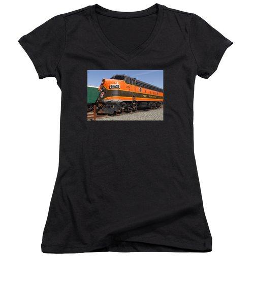 Garibaldi Locomotive Women's V-Neck T-Shirt (Junior Cut) by Wes and Dotty Weber