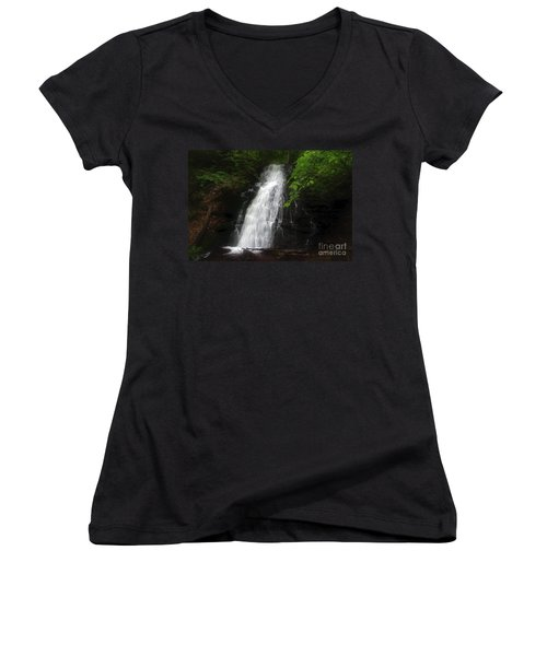 Women's V-Neck T-Shirt (Junior Cut) featuring the photograph Garvey Spring Falls by Debra Fedchin