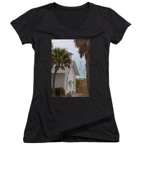 Women's V-Neck T-Shirt (Junior Cut) featuring the photograph Gasparilla Island State Park Chapel by Ed Gleichman