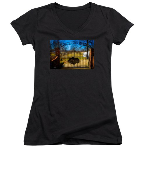 Gates Of Rock And Roll Women's V-Neck (Athletic Fit)