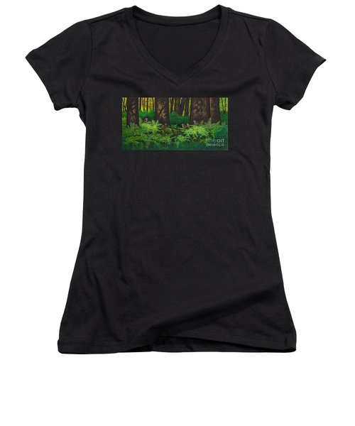 Gathering Among The Ferns Women's V-Neck (Athletic Fit)