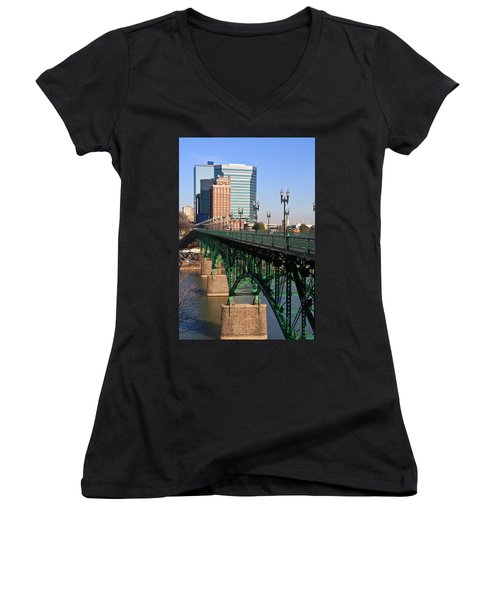 Gay Street Bridge Knoxville Women's V-Neck T-Shirt (Junior Cut) by Melinda Fawver