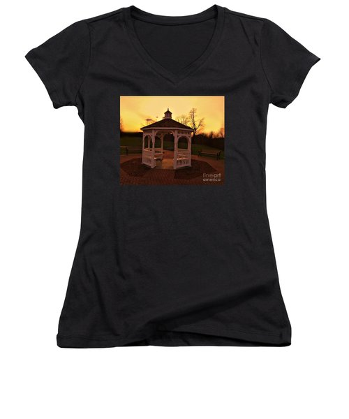 Women's V-Neck T-Shirt (Junior Cut) featuring the photograph Gazebo In Sunset by Becky Lupe
