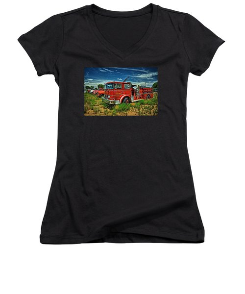 Women's V-Neck T-Shirt (Junior Cut) featuring the photograph Generations Of Fire Fighting Equipment by Ken Smith