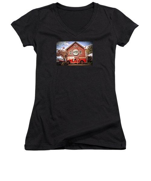 Geneva On The Lake Firehouse Women's V-Neck T-Shirt (Junior Cut) by The Art of Alice Terrill