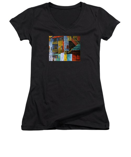 Women's V-Neck T-Shirt (Junior Cut) featuring the painting Geometric Colours I by Xueling Zou