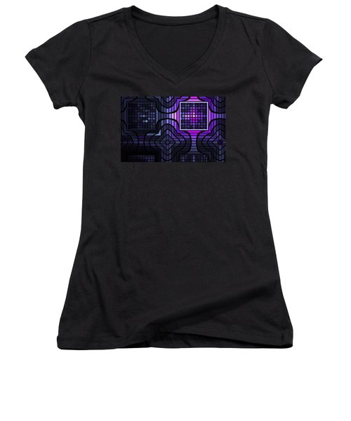 Women's V-Neck T-Shirt (Junior Cut) featuring the digital art Geometric Stained Glass by GJ Blackman