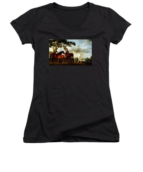 Horses Women's V-Neck T-Shirt (Junior Cut) by George Stubbs