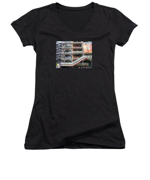 Georges Pompidou Centre Women's V-Neck T-Shirt (Junior Cut) by Oleg Zavarzin