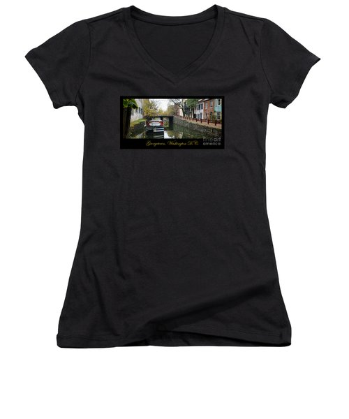 Georgetown Canal Poster Women's V-Neck (Athletic Fit)