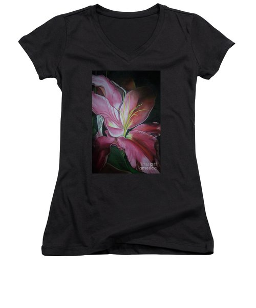 Women's V-Neck T-Shirt (Junior Cut) featuring the painting Georgia On My Mind by Marlene Book