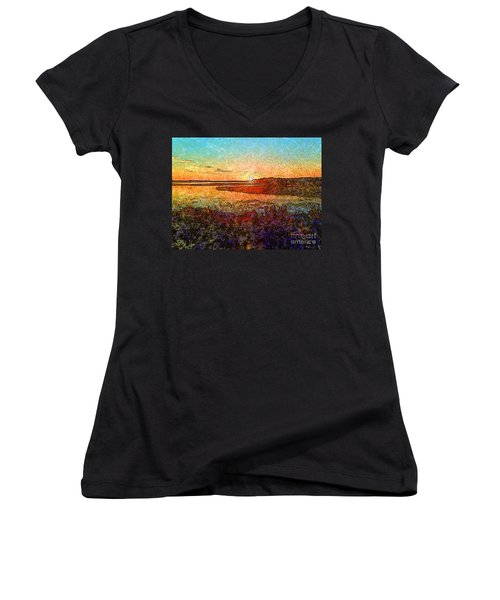 Georgian Bay Sunset Women's V-Neck (Athletic Fit)
