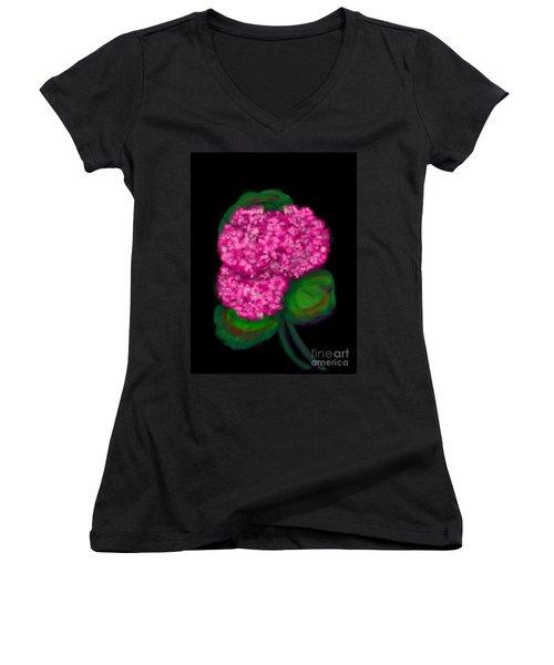 Women's V-Neck T-Shirt (Junior Cut) featuring the digital art Geranium by Christine Fournier