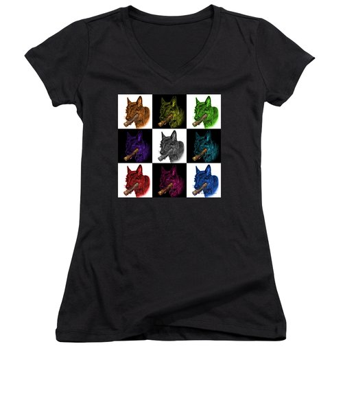 German Shepherd And Toy Mosaic - 0745 F V2 Women's V-Neck