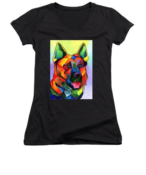 German Shepherd Women's V-Neck T-Shirt (Junior Cut) by Sherry Shipley