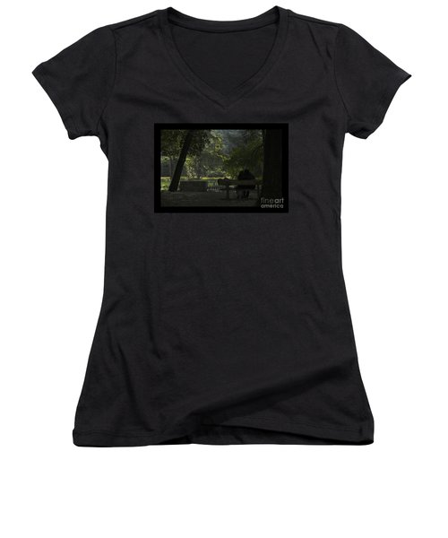 Romantic Moments Women's V-Neck T-Shirt (Junior Cut) by Kiran Joshi