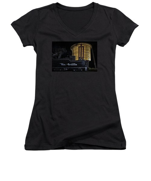 Women's V-Neck T-Shirt (Junior Cut) featuring the photograph Getting Water by Priscilla Burgers