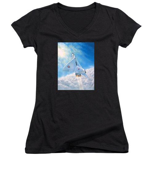 Ghost Flight Rl206 Women's V-Neck T-Shirt (Junior Cut) by Michael Swanson