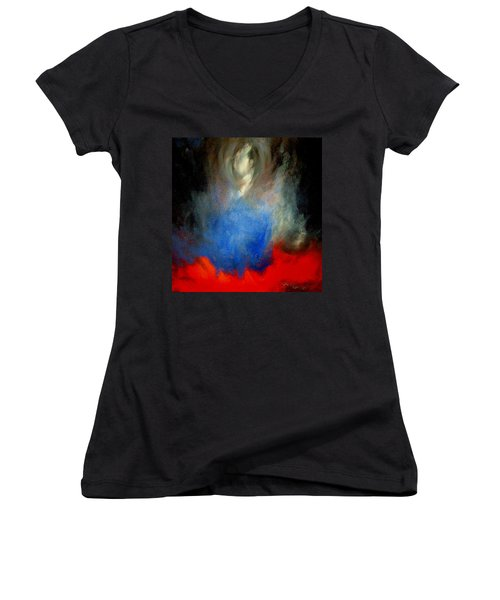 Women's V-Neck T-Shirt (Junior Cut) featuring the painting Ghost by Lisa Kaiser